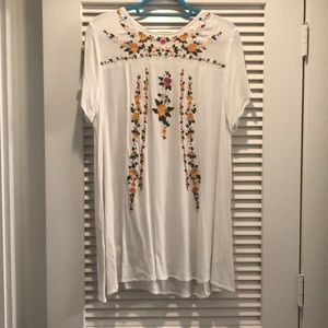 Flower Embroidered Mini Dress/Long Top